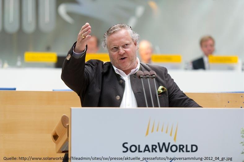 Dr.-Ing. E. h. Frank Asbeck präsentiert den Aktionären den Geschäftsverlauf der SolarWorld AG.