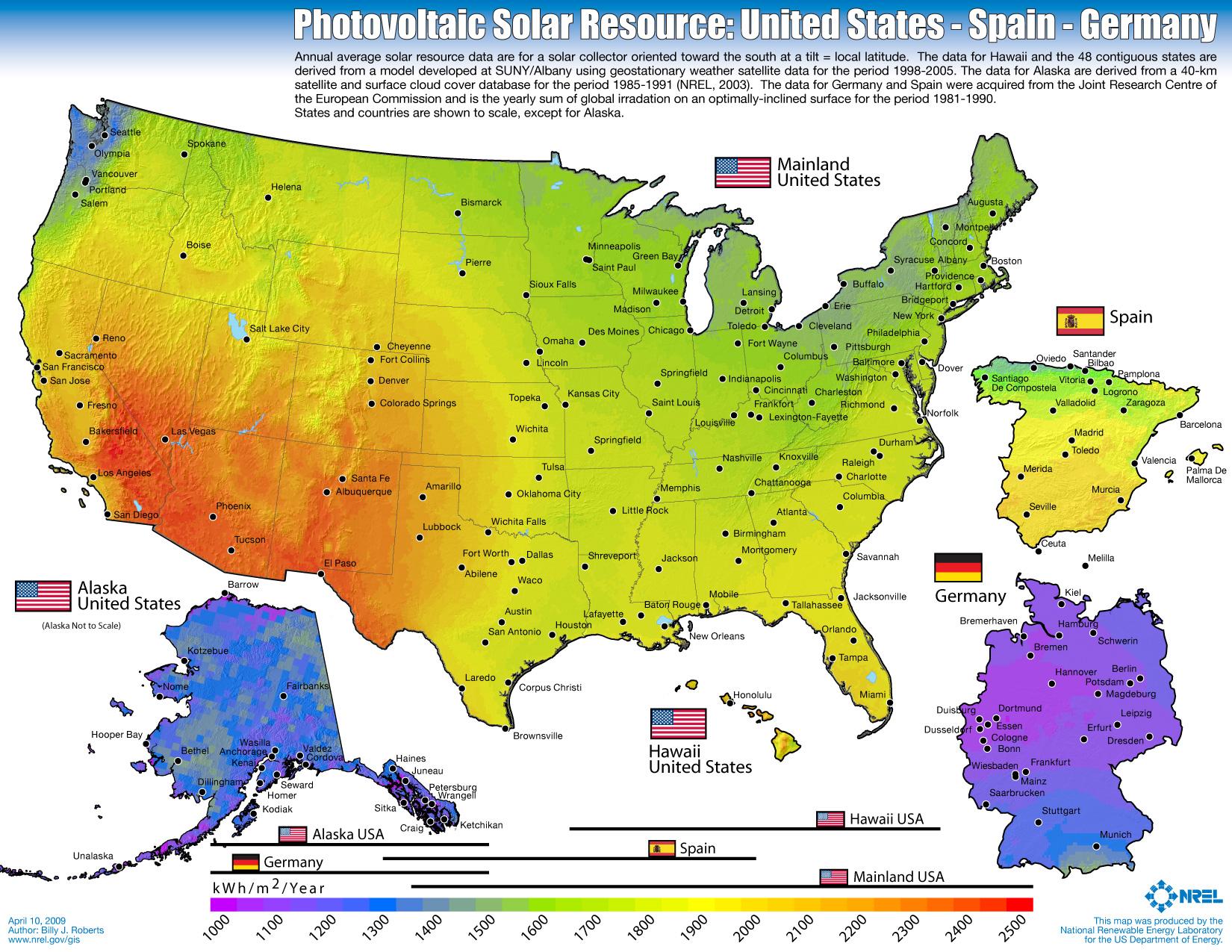 Photovoltaik-Anlagen in Deutschland sind rentabel, die USA hat deutlich mehr Sonneneinstrahlung